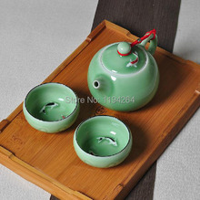 Fish Pattern * Longquan Celadon Porcelain Ware Teapot & 2 Teacup Kungfu Tea Set