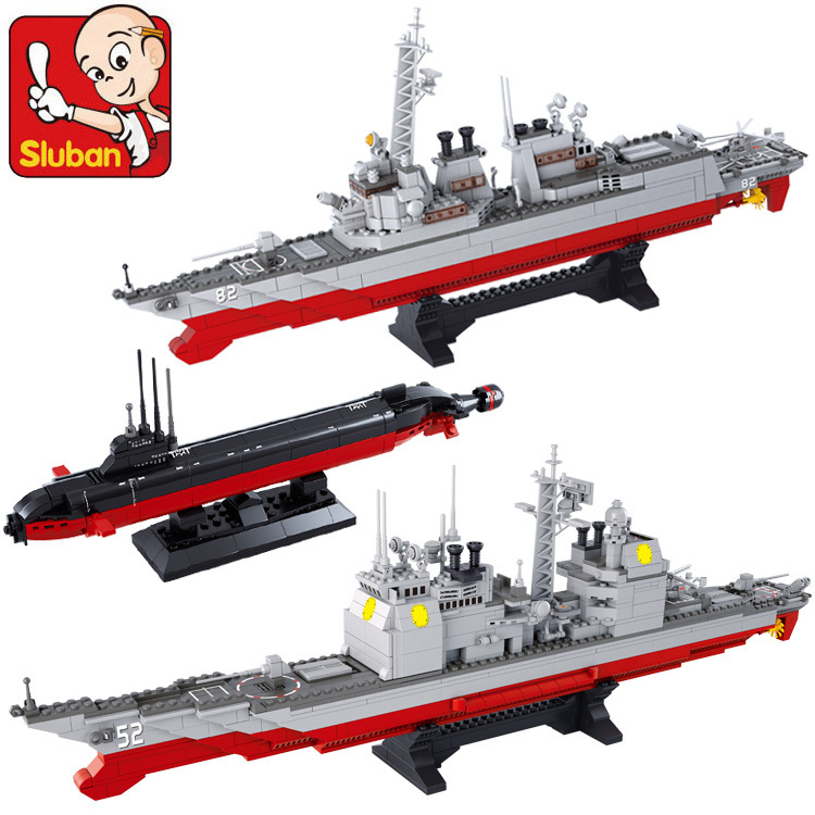 Marine battle Aircraft carrier group Cruiser The destroyer Nuclear submarines 3 in 1 building block set Construction Model Brick<br><br>Aliexpress