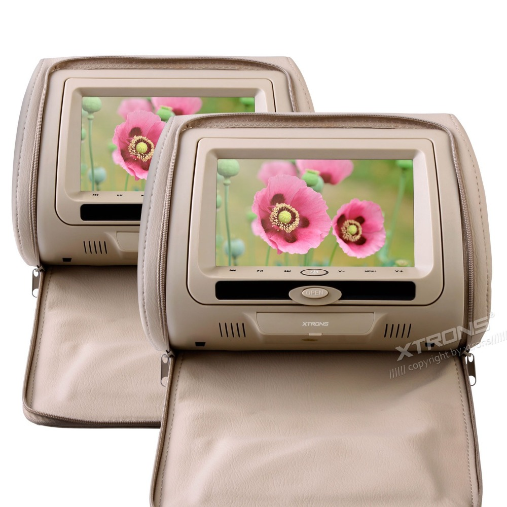 """2 x 7"""" Digital In Car Pillow Headrest DVD Players Beige Color Built in IR/FM Transmitter Video / Audio 32 bits Game with Zipper(China (Mainland))"""