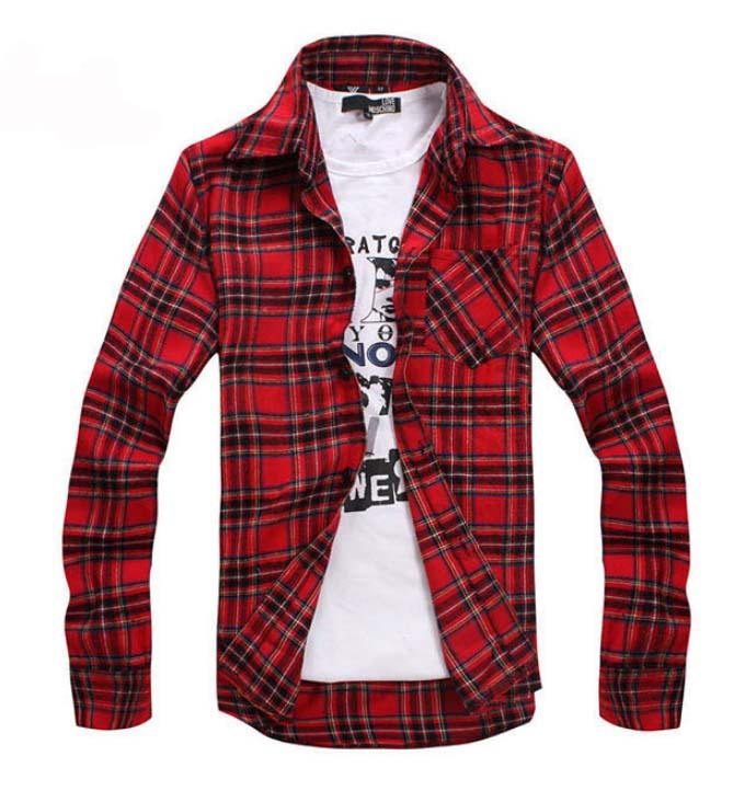 Ruffle Shirt Mens Red Checkered Men's Shirt