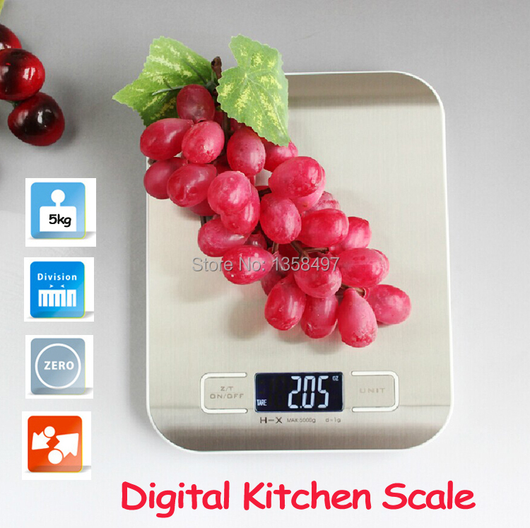 Mini 5kg/1g Ultrathin stainless steel digital kitchen scale baking cooking Household measure tools electronic weight balance(China (Mainland))