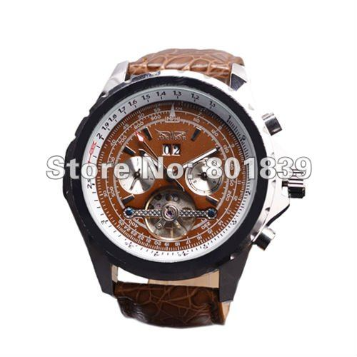 Luxury Brown Dial Mens AUTO Watch 6 Hand Mechanical Watch Wrist Watch Nice Gift Wholesale Price FL00013<br><br>Aliexpress