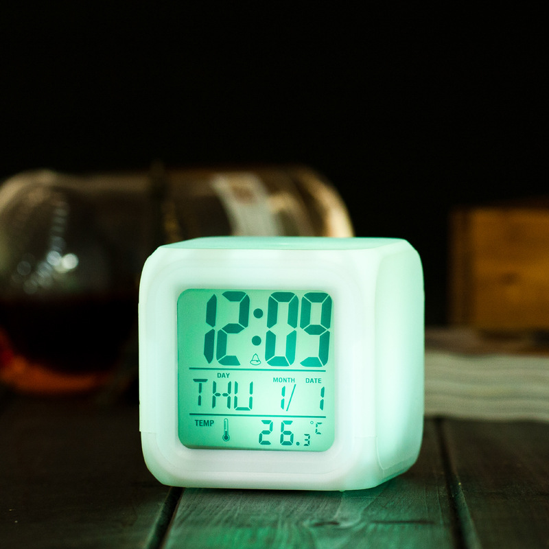 LED 7 Color Glowing Change Digital Alarm Clock LED Watch Glowing Alarm Thermometer Clock Cube inteligence