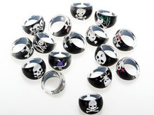 Wholesale Lots 20pcs Black Resin Lucite Skull Pattern Kid Children Rings Jewelry Cheap Rings Jewelry Free