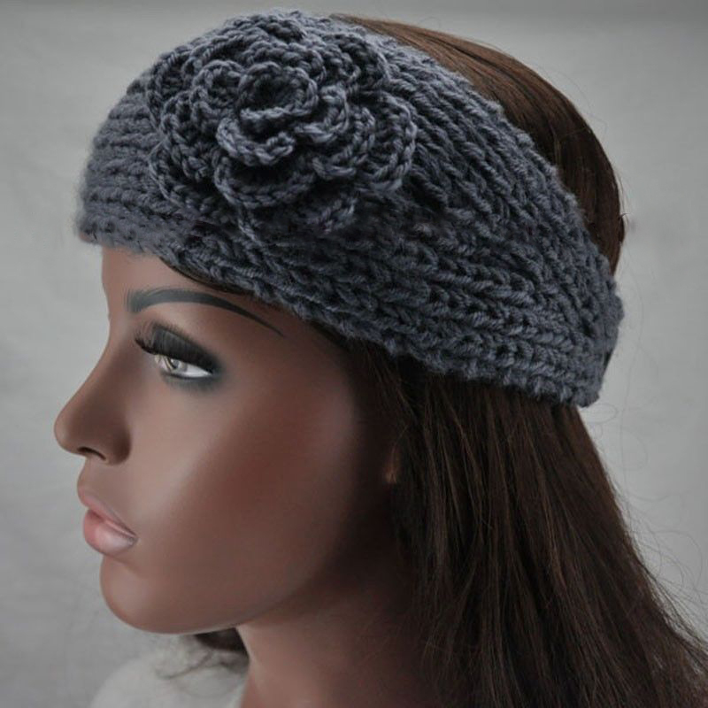New Winter Lady's Nice Crochet Flower Ear Hairband Headwrap Knitted Warm Headband(China (Mainland))