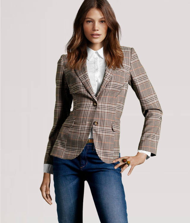 Checked Blazer Womens Fashion Ql