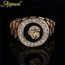 Trendy hollow out hero design black men jewelry gold plated white CZ diamond cool rings for men(Ajojewel brand)(China (Mainland))