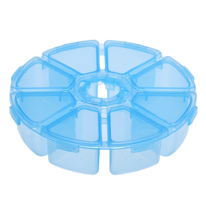 Best Deal New Round 8 Grids Clear Jewelry Storage Assortment Box Plastic Case Convenience Store Small Items Transparent Box 1PC(China (Mainland))