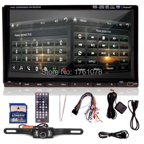 "Free Camera 7"" double 2 din Car PC Stereo Universal Car Audio Radio bluetooth GPS Navigation DVD CD Video Player+USB SD Ipod TV(China (Mainland))"