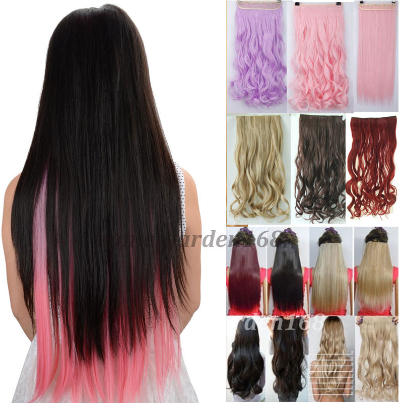 """Long 26"""" 100% real Thick Straight hair Extentions Clip in on hair Extensions soft natural synthetic hair piece Free shipping(China (Mainland))"""
