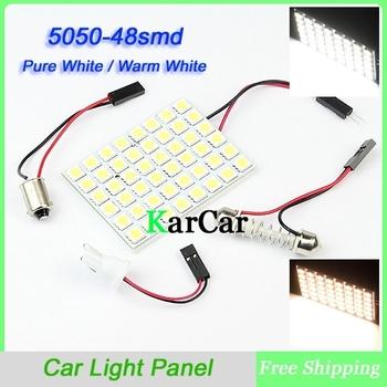 48 SMD 5050 LED Panel Light LED Car Auto Interior Dome Plate Bulbs Light Car Interior Dome LED Bulb Free Shipping
