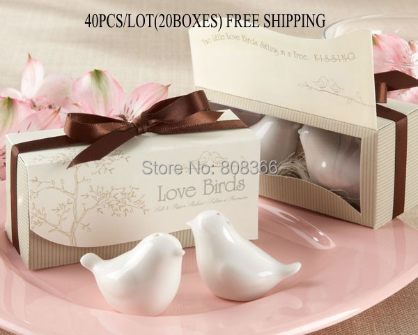 40pcs/lot(20boxes) Love birds ceramic Salt and Pepper shaker Wedding Favors for Cheapest Wedding gift Free shipping(China (Mainland))