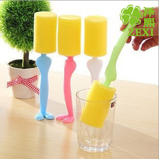 long Handle Easy Cup Brush Sponge Cleaner Cleaning Brush Bottle Glass Cup Scrubber Washing Cleaning Kitchen Tool Color Random(China (Mainland))