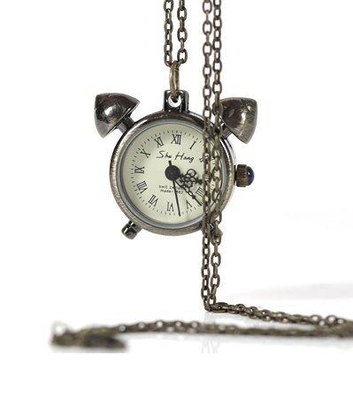Bronze Tone Clock Designer Necklace Quartz Watch +Chain freeship