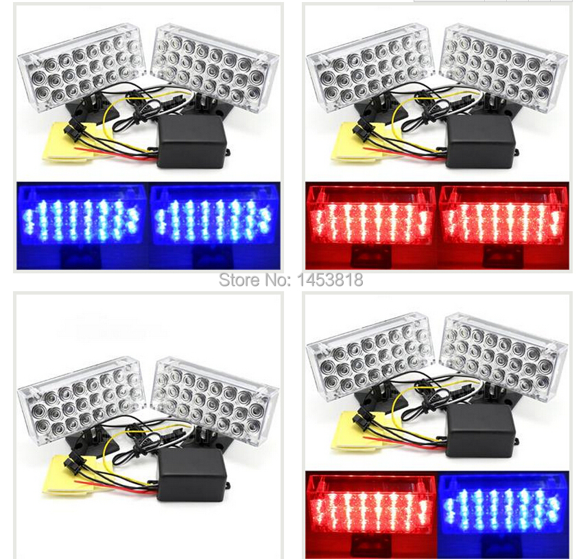 One Set 22LED Blue&Red Strobe Car Grill Daytime Running Light Flash Emergency Warning LED front grille auto 12V - 1STOMC SUPER MARKET store