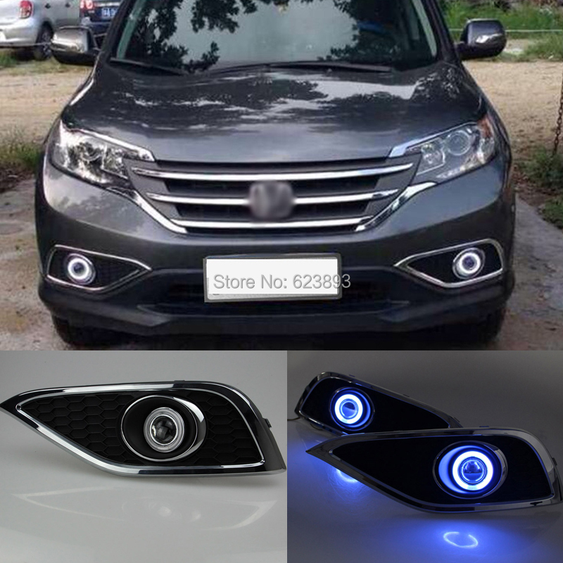 Car styling Fit Honda CRV 2012-2014 LED Daytime Running Lights DRL Projector Lens Fog lights + Angel Eyes Kit(China (Mainland))