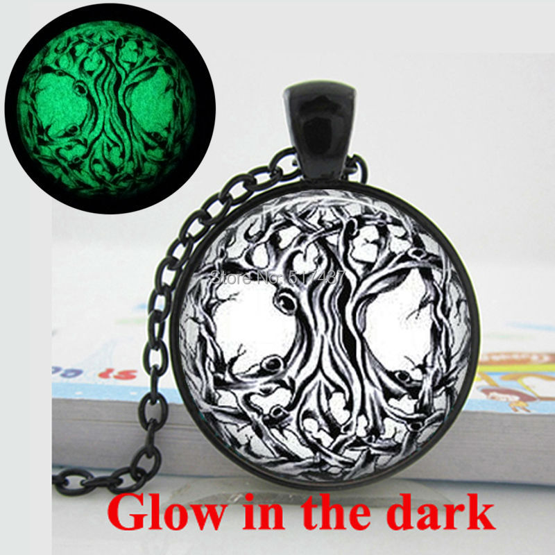 Glow in the dark Necklace Pendants, Tree Necklace Tree of Life pendant Glass Tile Jewelry Glowing Jewelry Glowing Necklace(China (Mainland))