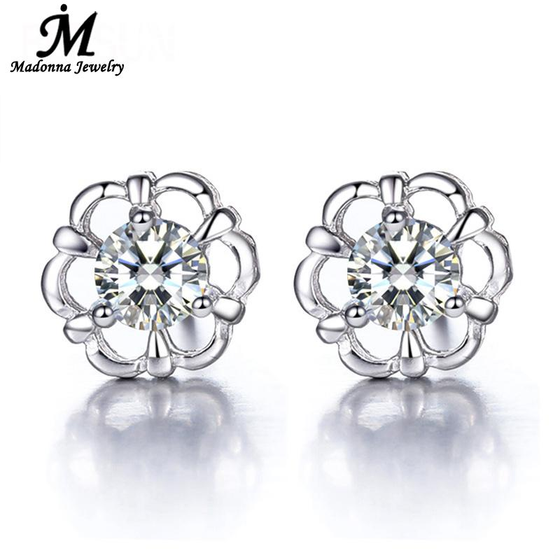 2016 New Luxury CZ Diamond Crystal Stud Earrings Fine Jewelry Exquisite Rudder Silver Plated crystal Earrings For Women(China (Mainland))