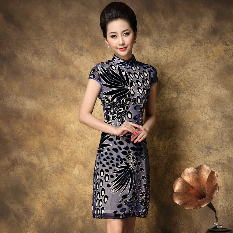 Summer fashion velvet cheongsam vintage quality mulberry silk married short qipao skirt formal dress - XiangQing-Cheongsam store
