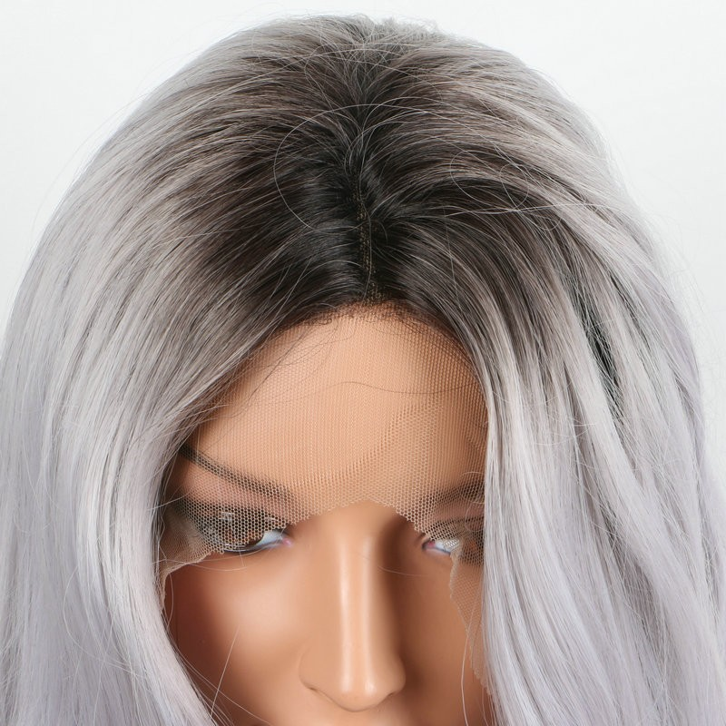 New arrived Heat resistant fiber body wave hair wig black grey ombre wig brazilian hair weave synthetic lace front wig wholesale