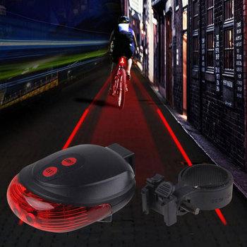 5LED + 2 лазерная велоспорт велосипедов безопасности задние лампы водонепроницаемый велосипед лазерный задний фонарь предупредительный световой сигнал фар лампа мигает Lampfair