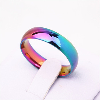Men Women Rainbow Colorful Ring Titanium Steel Wedding Band Ring Width 6mm Size 6-12 Gift