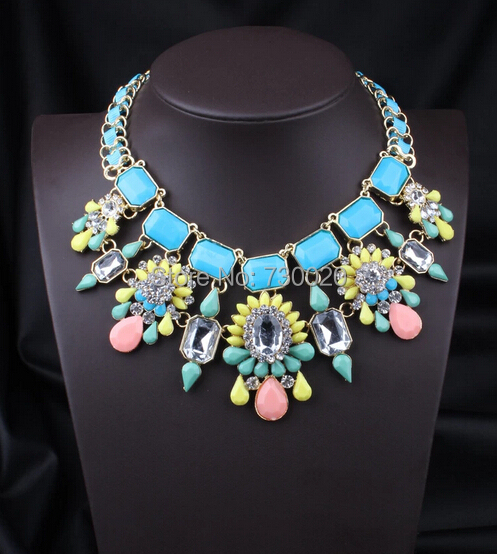 2014 fashion Jewelry Za Brand resin crystal flower pendant ribbon metal chain necklaces for women top quality(China (Mainland))