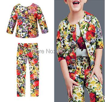 Christmas Children's Sets Floral Print  Brand Designer 2014 Newest 3-12Y Girls Clothing Sets Coat +Pants Best Quality !