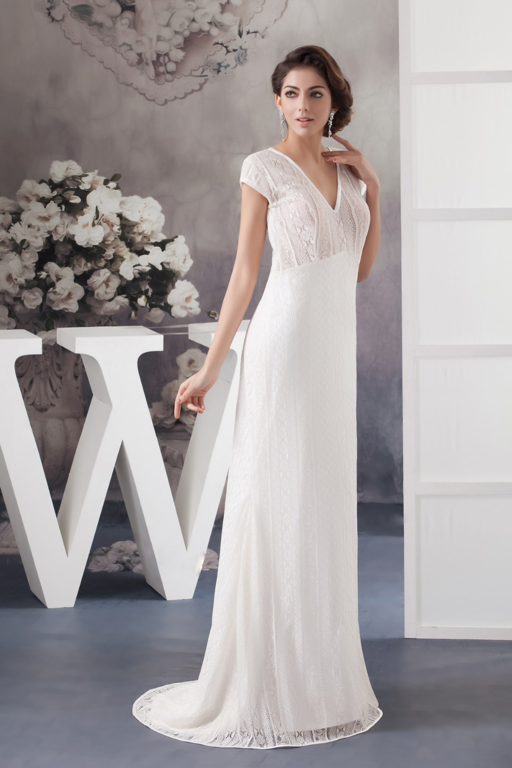 Elegant wedding dresses older brides high cut wedding for Older brides wedding dresses