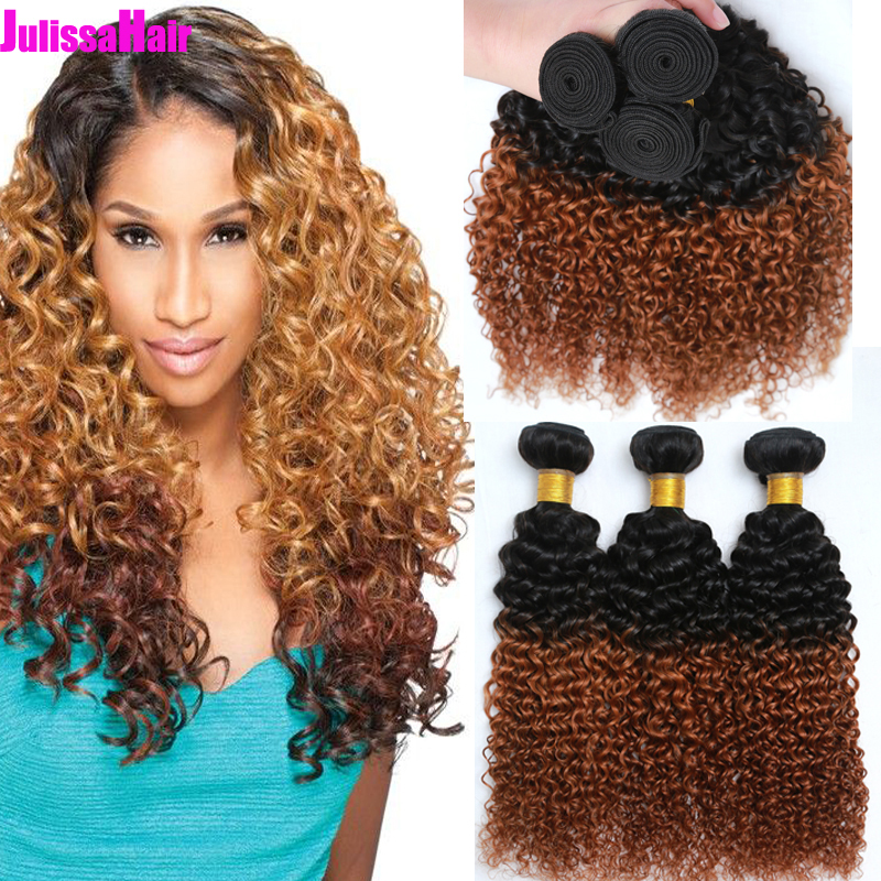 6A Ombre Hair Extensions Brazilian Virgin Hair Kinky Curly Weaves Cheap Brazilian Curly Human Hair Bundles  Black/Brown 1b/30#