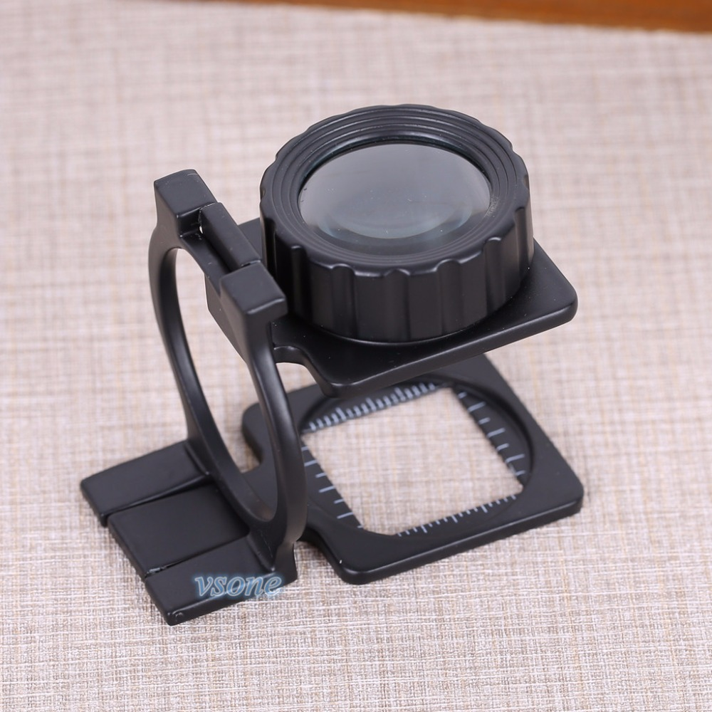 Loupe 20X Jewelry Fabric Scale Magnifying Measure Glass Fresnel Lens Pocket  Portable Lupa  Desktop Foldable  Stand Magnifier<br><br>Aliexpress