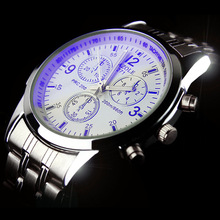 Fashion Full Steel White Black Blue Ray Dial 30m Waterproof Luminous Hands Business Dress Sport Wrist