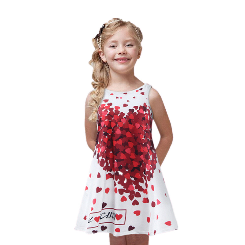 3-7 yrs Kids Clothes 2016 Summer Sleeveless Girl Party Dress Children Kid Toddler Girl Baby Clothing fashion print Girls Dress(China (Mainland))