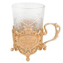 200ml gold metal saucer coffee glass tea cups sets,embossing flower Russian glass teapots,heatproof glass tea pots men gift