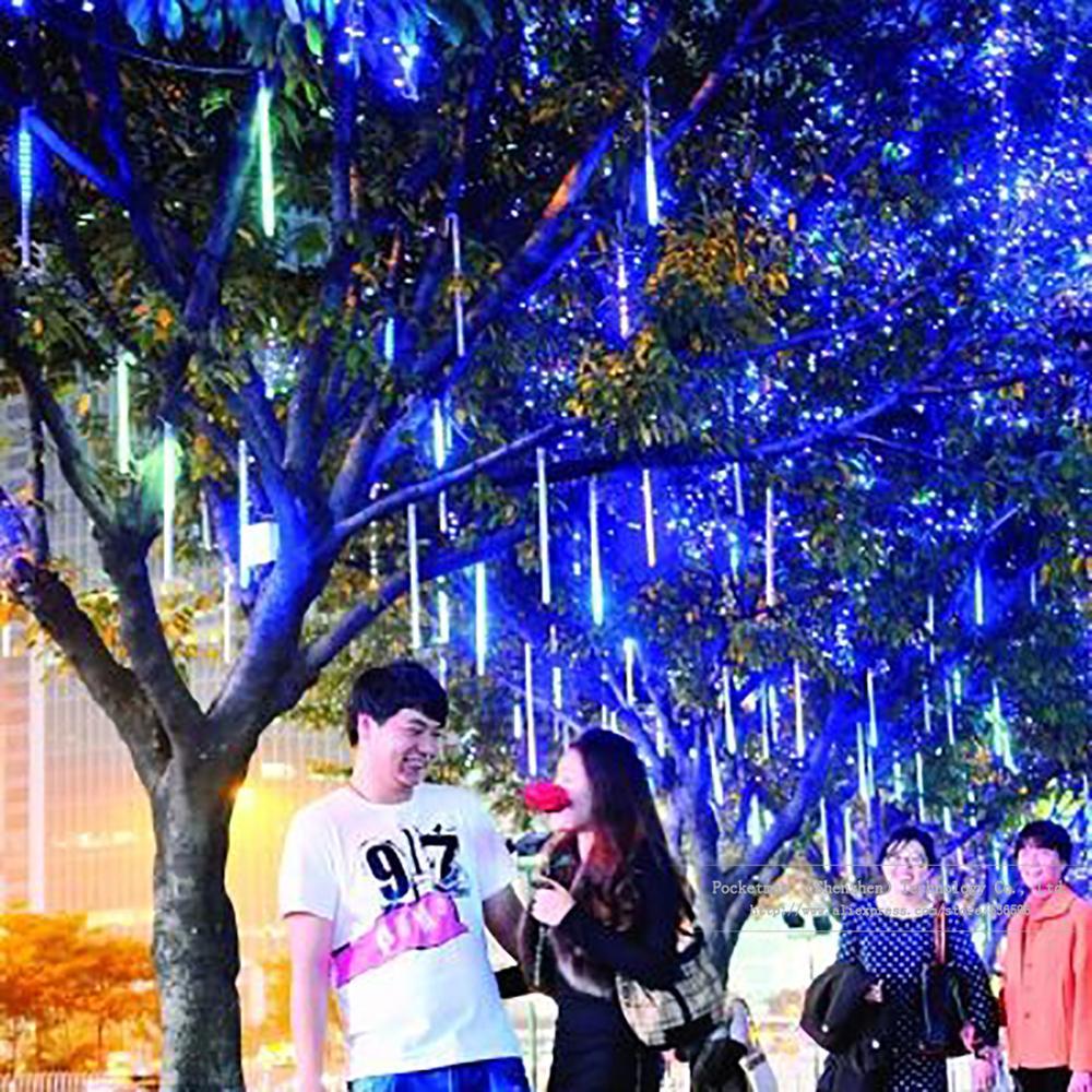 Meteor Shower Rain Tubes 30cm Christmas Lights Led Lamp 100-240V Outdoor Holiday Light New Year Decoration 8pcs/set<br><br>Aliexpress