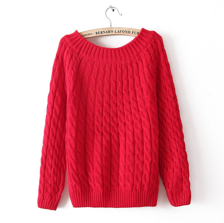 2016 All-Match Twist Sweater Autumn Winter Fashion Casual Solid Round Neck Knitted Pullover Long Sleeve Free Shipping(China (Mainland))