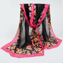 2017 Summer silk scarf women brand hijab scarf Fashion Chiffon Scarves Printing georgette female silk Scarves 160*50cm(China (Mainland))