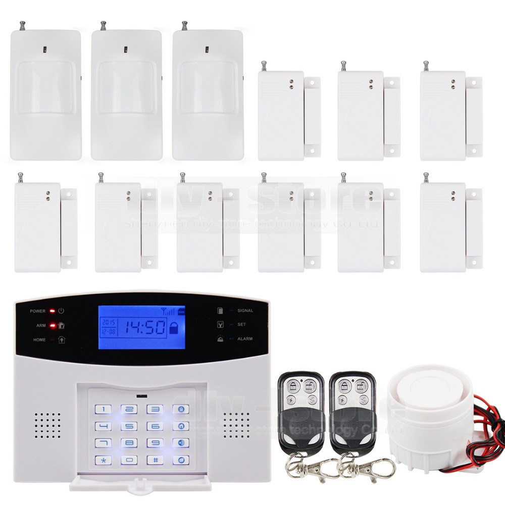 High Sensitivity GSM Sms Home House Alarm System Lcd Screen + 3 Sensors Pir + 9 Door/window + 2 Remote(China (Mainland))