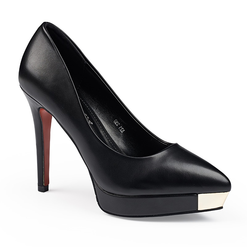 2015 Genuine Leather Black Sexy High Heels Women Pumps Ladies Platform Shoes Woman Chaussure Femme Zapatos Mujer sapato feminino