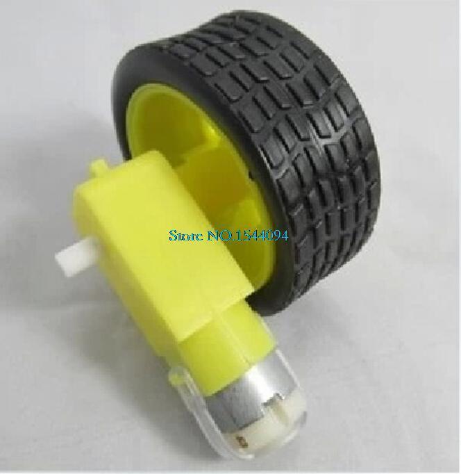 Removable Tyre Robot Wheel + Motor DC 3V-8V for Arduino Smart Car DIY/ Motor with Wheel Robot Smart Car Set(China (Mainland))