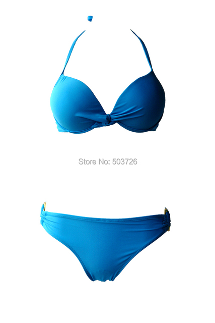 Hot Sale Blue Sexy Swimwear Women Top Push-up With Underwire Strap Bikini Set New Bathing Suit S M L Size