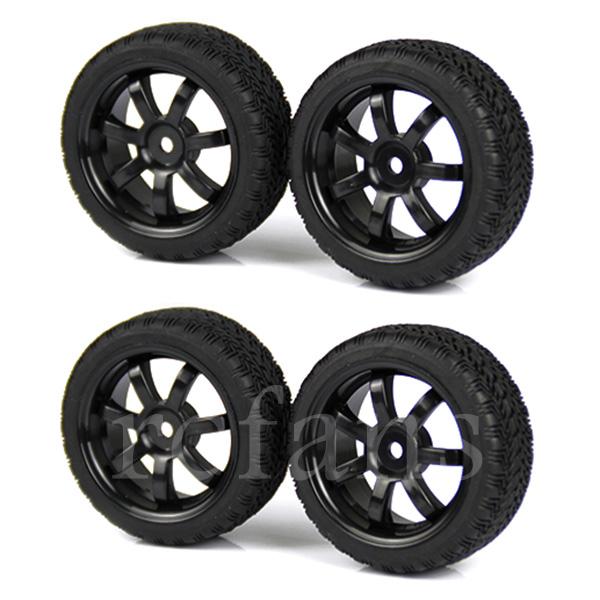 4 x Black RC 1:10 On Road Car 7 Spoke Wheel Rims & Tires Rubber Plastic(China (Mainland))