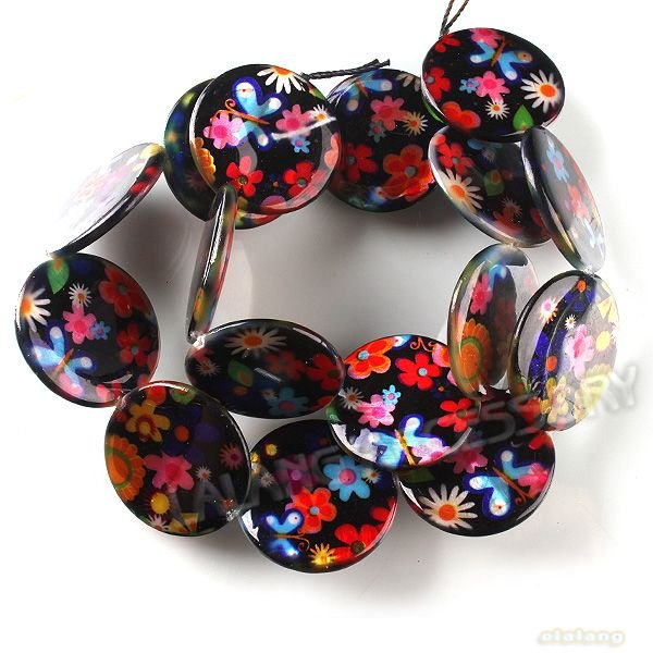 Wholesale 3strings/lot New Design Colorful Flower Shell Beads Dia. 25mm Fit Jewelry Findings Necklace Charms Beads DIY 111520(China (Mainland))