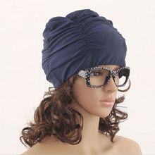 2015 Sexy Women Girls Drape Stretch Long Hair Swim Cap Hat Bathing Swimming Cap Summer(China (Mainland))