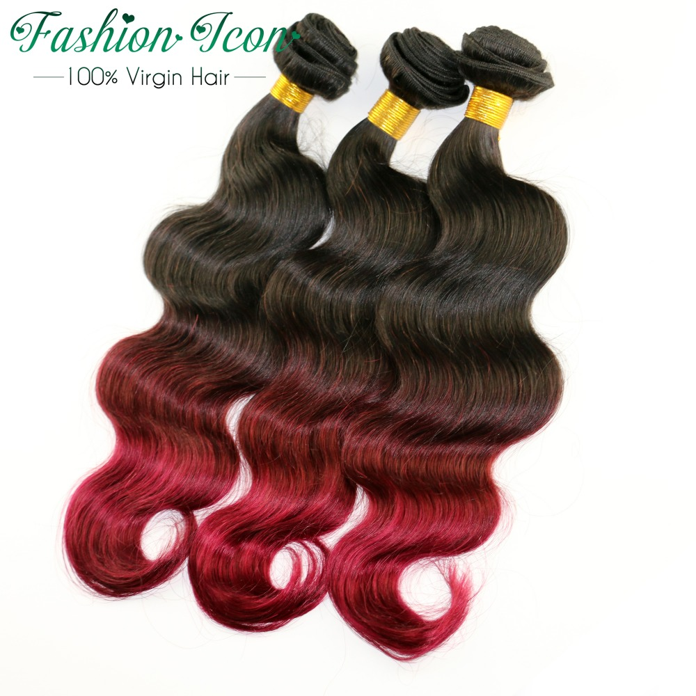 Ombre Brazilian Hair Body Wave 3Tone Ombre Human Hair Extensions Brazilian Hair Bundles 1B/99j/burgundy Brazilian Body Wave Hair