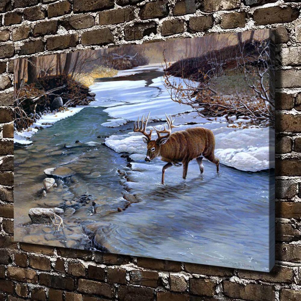 A0541 natural scenery animal deer stream hd canvas print for Deer scenery