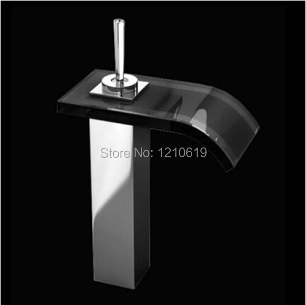 Newly US Free Shipping Chrome Finished Bathroom Sink Basin Faucet Waterfall Black Glass Spout Mixer Tap Single Handle Deck Mount