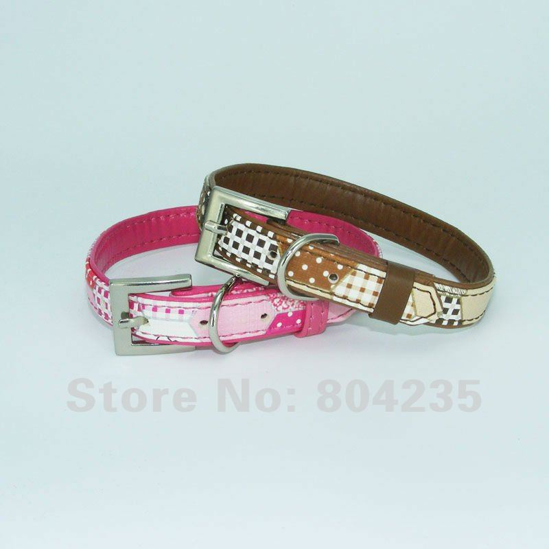 Mix colors! Wholesale 4PCS/lot M(1.5*37cm)rose red/brown PU leather pet collar,dog puppy teddy poddle collar,cat kitty collar(China (Mainland))