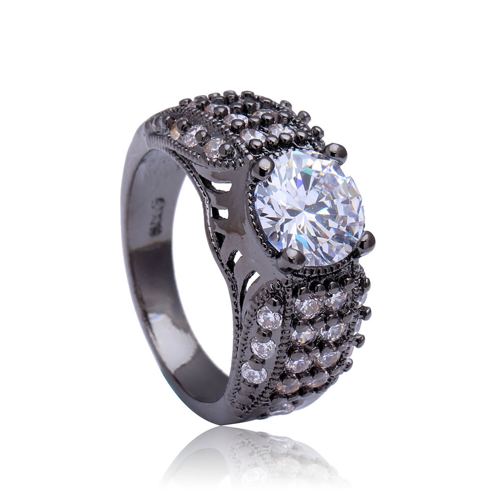 2016 Hot Luxury Finger Ring for Women/Men Gift Vintage Jewelry White CZ Diamond Engagement Band Black Gold Plated Wedding Rings(China (Mainland))