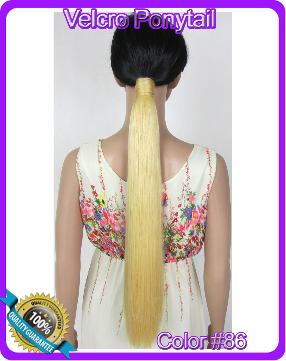 22(55cm) 90g straight Velcro hook&amp;loop ponytail clip in hair extensions hairpiece color #86 Golden<br><br>Aliexpress